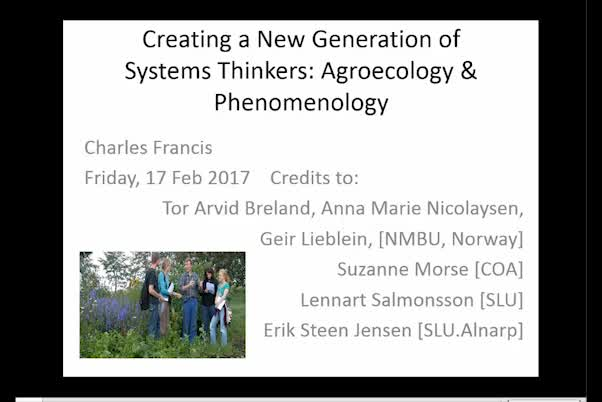 Creating a new generation of systems thinkers: Agroecology and phenomenology
