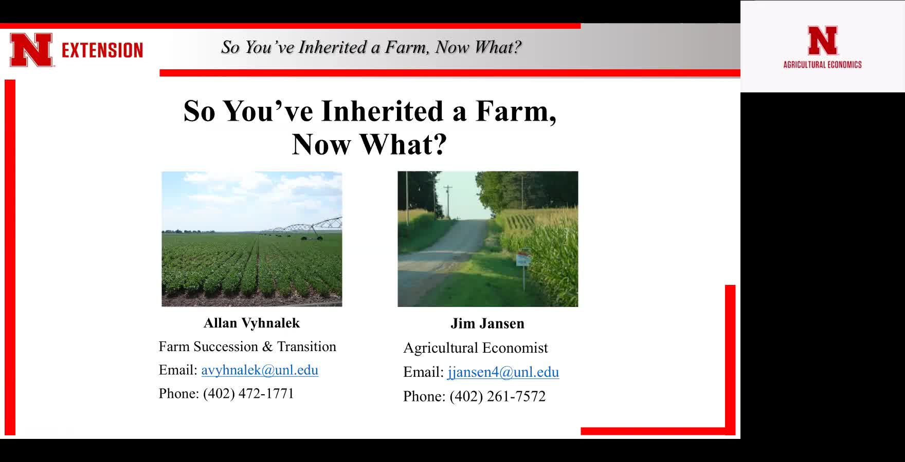 So You've Inherited a Farm, Now What? Farm Succession Webinar