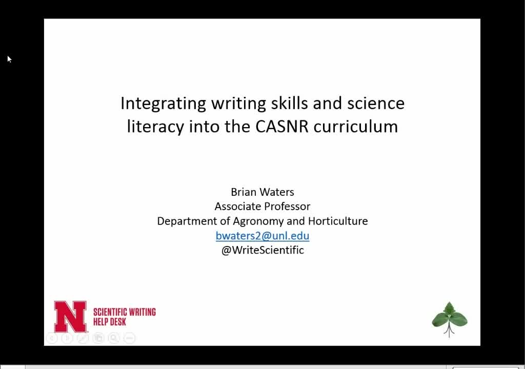 Integrating writing skills and science literacy into the CASNR curriculum