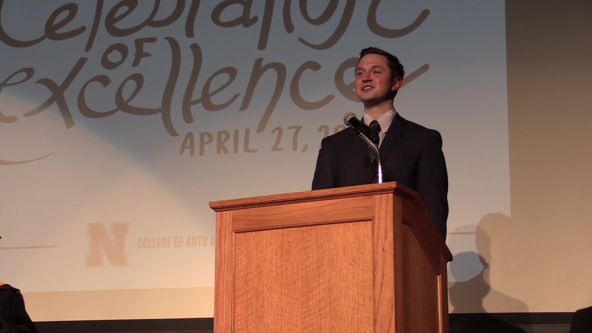 Samuel Baue's senior reflection at Celebration of Excellence 2018