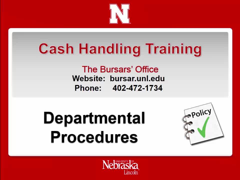 Cash Handling 1:  Departmental Procedures