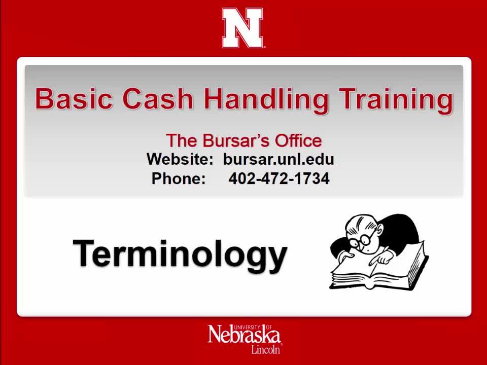 Cash Handling 2: Terminology